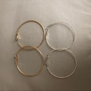 Jewelry - 2 inch silver and gold hoop earrings